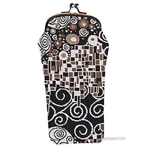 Signare Tapestry Glasses Case for Women Eyeglass Case with Gustav Klimt Kiss Design (GPCH-KISS)