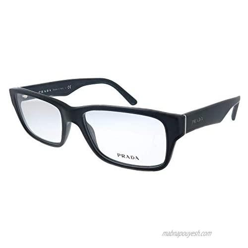 Prada Heritage PR 16MV 1BO1O1 Matte Black Plastic Rectangle Eyeglasses 57mm