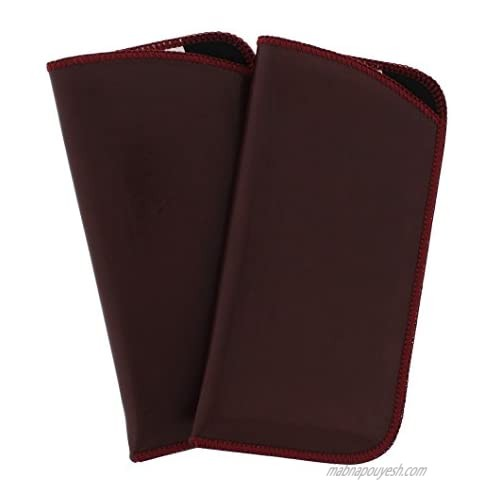 2 Pack Classic Faux Leather Eyeglass Slip Cases In Burgundy For Men And Women
