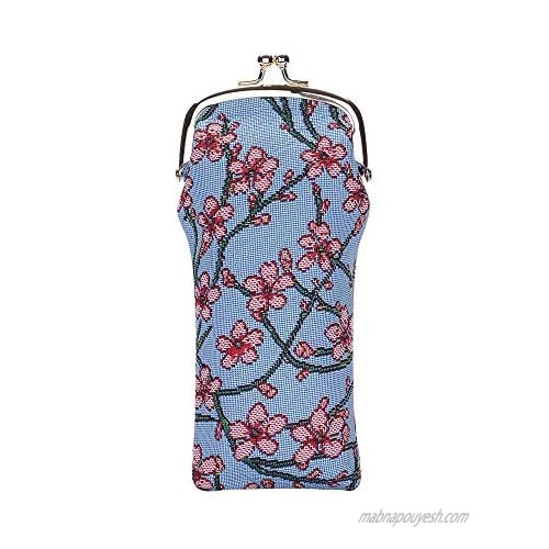Signare Tapestry Glasses Case for Women Eyeglass Case with Blossom and Swallow Design