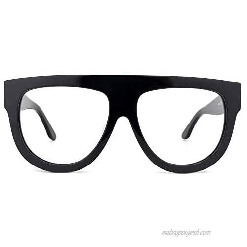 Zeelool Vintage Thick Oversized Aviator Eyeglasses Frame for Men Non-prescription Clear Lens Jules FP0334-01