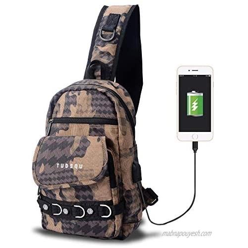 Tudequ Small Crossbody Sling Chest Shoulder Backpack Bag with USB for Men Women