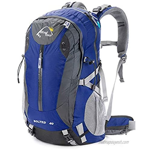 Wind Tour 40L Lightweight Backpack Hiking Rucksack Trekking Climbing Cycling Travel Day pack with Rain Cover (Blue)