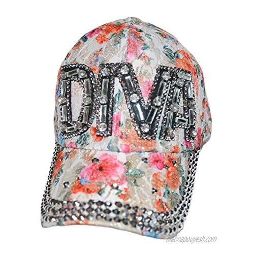 Diva Rhinestone Baseball Cap Sparkle Bling Floral Bedazzled Hat for Women and Girls