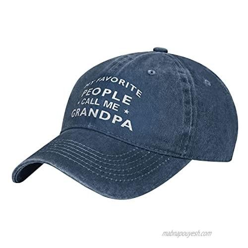 My Favorite People Call Me Grandpa Hat Unisex Dad Cap Adjustable Cowboy Baseball Cap