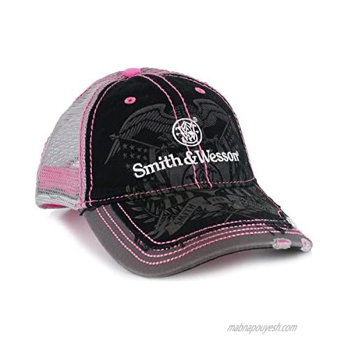 Smith & Wesson Womens Logo Baseball Hat with Pink Contrast Stitching
