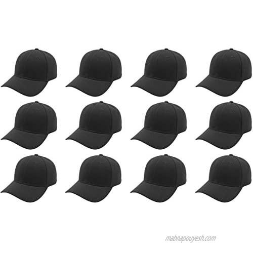 Z-ware 12-Pack Baseball Cap Bulk Wholesale Adjustable Size Plain Blank Solid Color DIY Cap