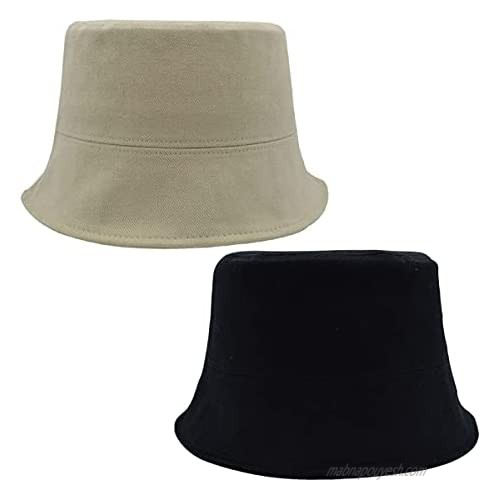 FWMhat Bucket Hat Castal Cap Unisex Packable Summer Sun Hat for Beach Fishing Outdoors Black  Beige