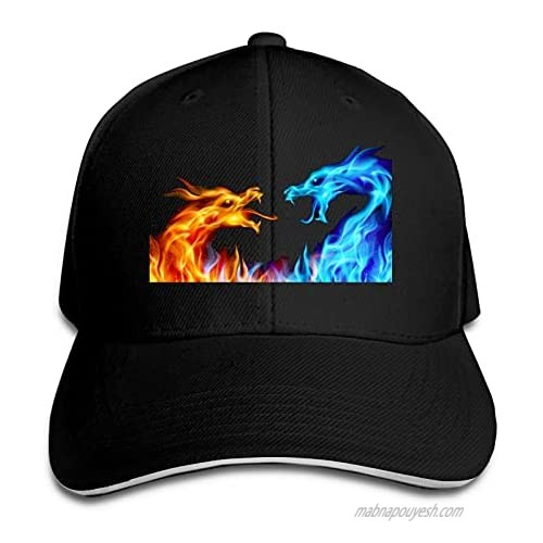 Ice Fire Dragon Hat Funny Neutral Printing Truck Driver Cap Cowboy Hat Adjustable Skullcap Dad Hat for Men and Women Black