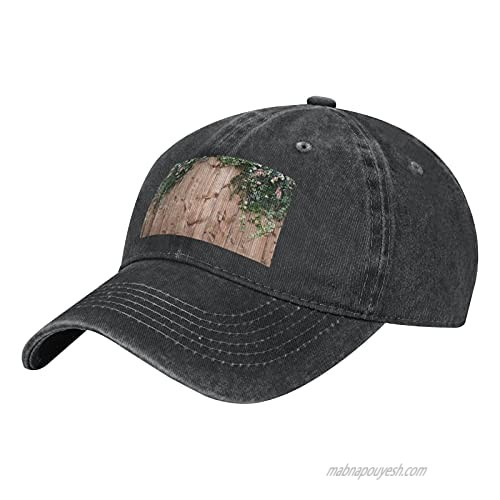Leaves Floral on Rustic Wood Adult Casual Cowboy HAT  Mens Adjustable Baseball Cap  Hats for MENLeaves Floral on Rustic Wood Black