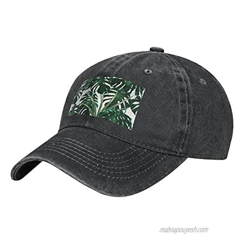 NOTZERO Dark Green Monstera Adult Casual Cowboy HAT  Mens Adjustable Baseball Cap  Hats for MENDark Green Monstera