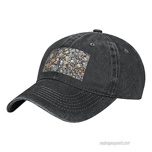 NOTZERO Funny Pebble Stone Adult Casual Cowboy HAT  Mens Adjustable Baseball Cap  Hats for MENFunny Pebble Stone Black