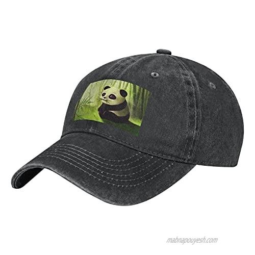 Panda and Bamboo Adult Casual Cowboy HAT  Mens Adjustable Baseball Cap  Hats for MENPanda and Bamboo Black