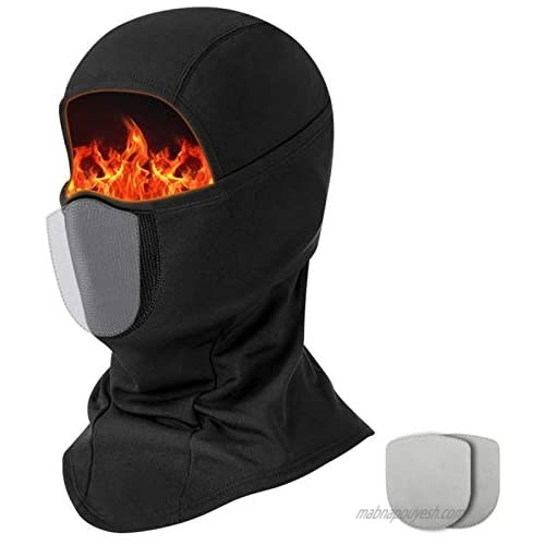 Balaclava Ski Mask for Men  Windproof Full Face Mask for Cold Weather Winter Skiing Snowboarding Motorcycling  with 2 Filters Black