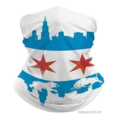 Chicago Flag Skyline Bear Bull Outdoor Seamless Face Mask Tube Bandana Multifunctional Neck Gaiter Scarf Headwear