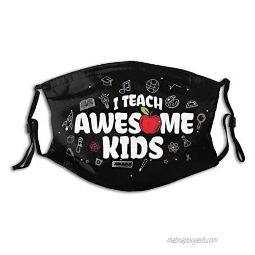Teacher Cloth Face Mask  Comfortable Balaclavas Reusable Bandana Adjustable Scarf For Adult (With 2 Filters)