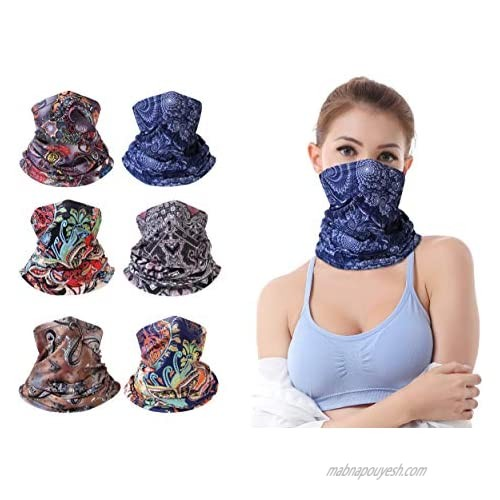 ZERDOCEAN 6Pack Printed Face Mask Neck Gaiter Face Scarf Bandanas Motorcycle Balaclava Unisex Headwear Neckwarmer