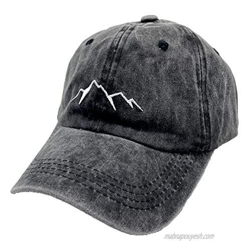LOKIDVE Men's Embroidered Mountain Explore Baseball Cap Outdoor Distressed Dad Hat Black