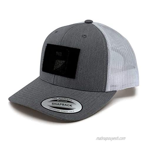 Pull Patch Tactical Hat | Authentic Snapback 2-Tone Curved Bill Trucker Cap | 2x3 in Hook and Loop Surface to Attach Morale Patches | 6 Panel | Heather and White | Free US Flag Patch Included
