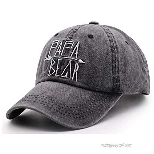 Unisex Mama Bear Denim Hat Adjustable Washed Dyed Cotton Dad Baseball Caps
