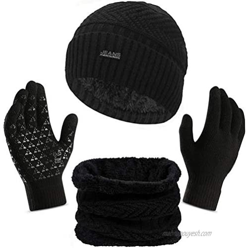 3Pcs Winter Beanie Hat Scarf Touch Screen Gloves Warm Knit Hat Thick Fleece Lined