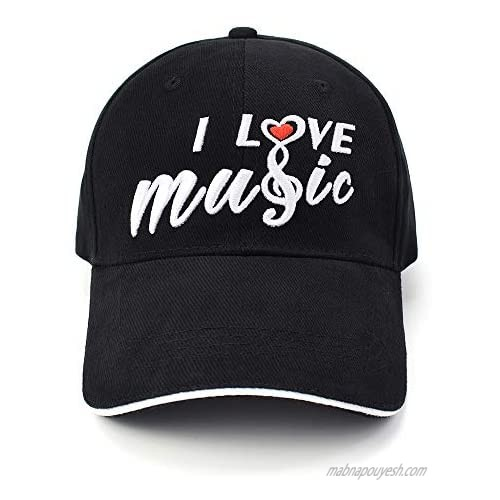 CLOUDMUSIC Baseball Cap Black Cotton for Women Men with I Love Music Embroidered