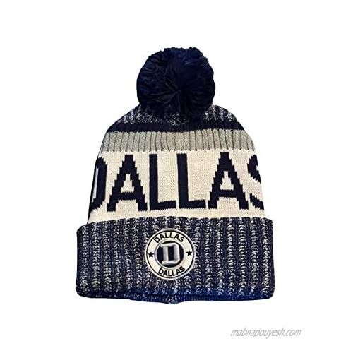 Football City/State Pom Beanie Premium Embroidered Patch Winter Soft Thick Beanie Hat