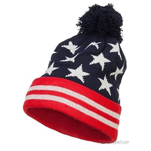 Hatiya American Flag Pom Knit Beanie - Navy OSFM