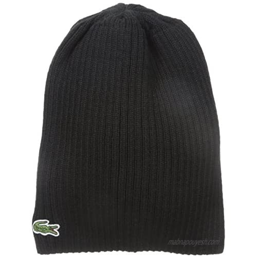 Lacoste Mens Classic Wool Ribbed Knit Beanie