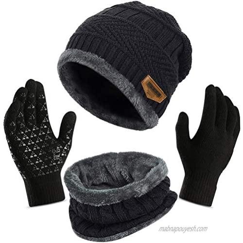 3Pcs Winter Beanie Hat  Warmer Scarf Touchscreen Gloves Set for Men Women Warmer Neck Thick Knit Skull Cap