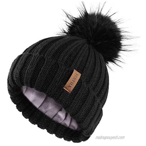 FURTALK Womens Winter Knitted Beanie Hat with Faux Fur Pom Fleece Lined Warm Beanie for Women