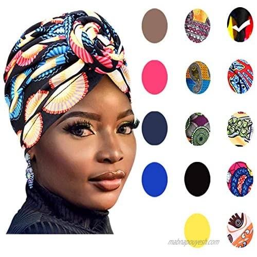 GABraden Women Pre-Tied Bonnet Turban for Women Printed Turban African Pattern Knot Headwrap Beanie