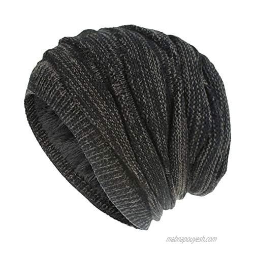 Nogewul Winter Slouchy Knit Beanie Hat for Men Women Polar Fleece Lined Chunky Skull Cap