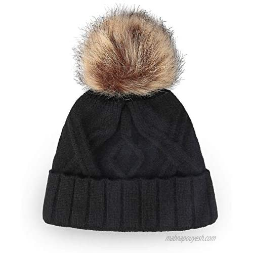OZERO Winter Hats Beanie for Women  Knit Pom Pom Hat Thick Double Layer Fleece Warm Linning for Cold Weather