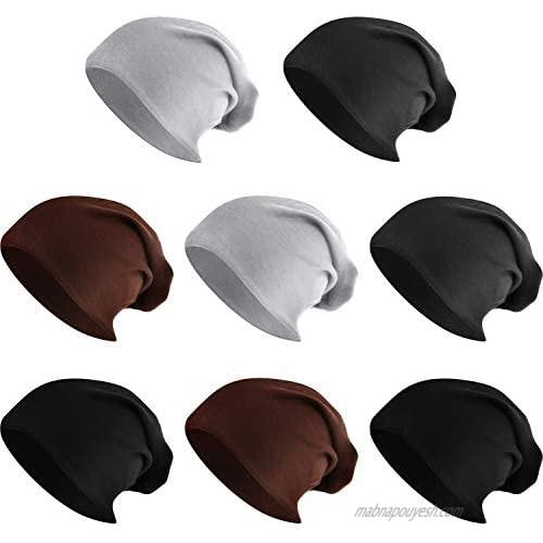 SATINIOR 8 Pieces Thin Knit Slouchy Beanie Hats Skull Cap Long Baggy Hip-hop Dwarf Hats