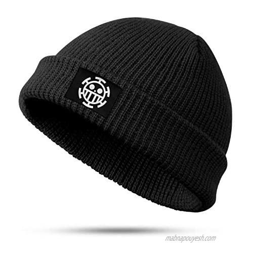 Unisex Black One-Piece-Golden-Age Beanie Hat Winter Warm Soft Slouchy Knit Cap for Man Women