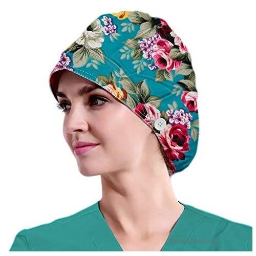 Women's Beanies Working Cap Button Sweatband Headband Elastic Hat Adjustable Bouffant Cap Adjustable