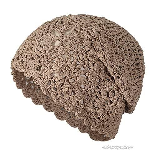 ZLYC Women Cotton Crochet Slouchy Beanie Hat Handmade Knit Cutout Summer Floral Skull Cap