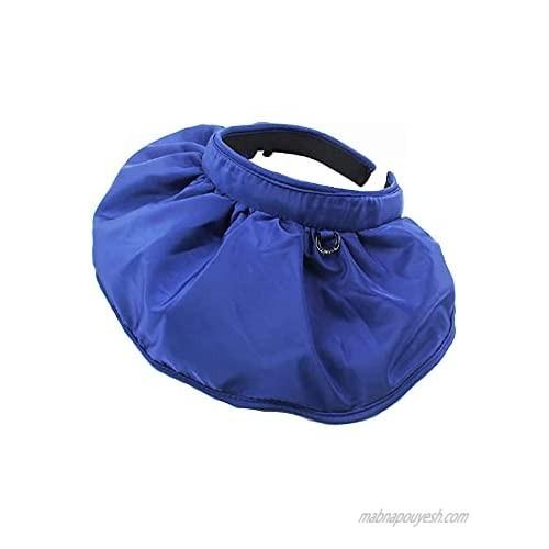 2 in 1 Sun Visor Hat Wide Brim Summer UV Protection Beach Cap Foldable Dual Purpose Headband for Women