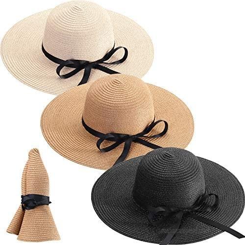 3 Pieces Foldable Roll up Cap Women Wide Brim Straw Hats Floppy Beach Sun Hats