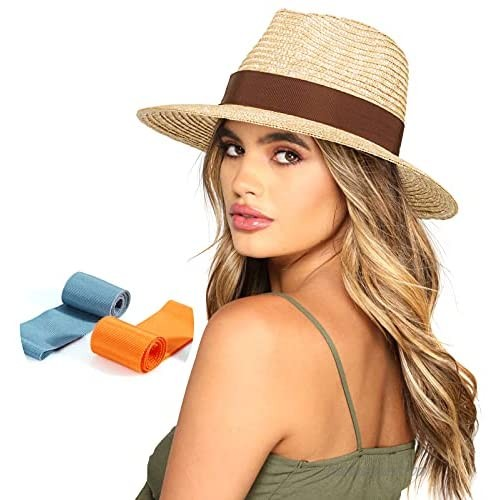 Cancan Sun Hat  Womens Mens Wide Brim Straw Panama Hats Fedora Summer Beach Hat UPF 50+ Unisex  with 3 Colors Ribbon Removable Beige