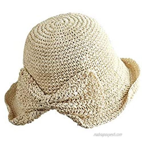 CHDHALTD Ladies Sun Hat Brim Summer Hat Beach Cap for Womens Bowknot Straw Beach Hat