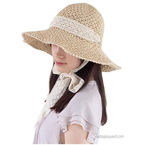 COMMADONNA Lovely Summer Packable Straw Chin Lace Strap with Eyelet Beach Hat (Light Beige)