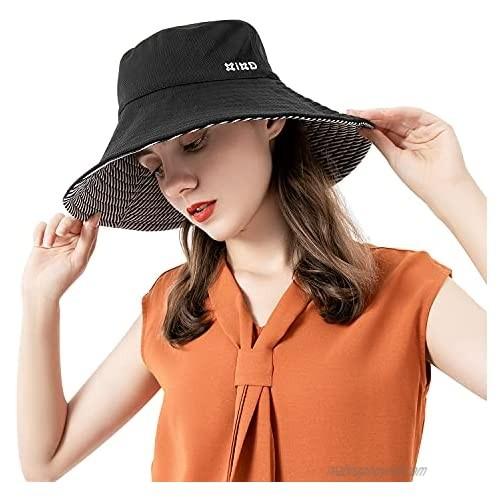 Double-Side-Wear Sun Hats for Women Wide Brim Reversible Bucket Hat Foldable Sun Cap UPF 50+ Cool-Feeling Fiber