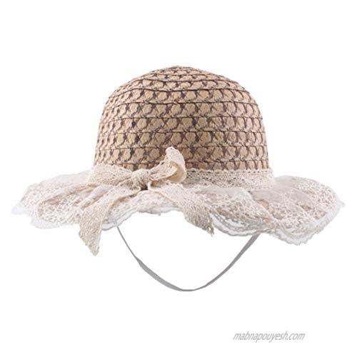 Dreamyn Summer Straw Hat Wide Brim Beach Hats Cute Lace Bowknot Sun Hat for Women and Girls