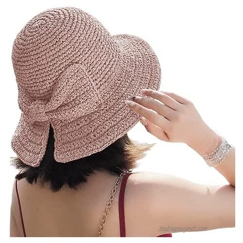 Foldable Wide Brim Floppy Straw Beach Sun Hat Summer Hat for Women & Girls