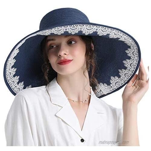 Go Mai Womens Wide Brim Straw Hat Foldable Beach Sun Hat Roll up