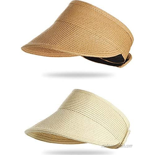 Harrhys 2 Pieces Beach Hats for Women Wide Brim Straw Hats Roll-up Foldable Sun Visor Hats UV Protection Hats  Beige and Khaki