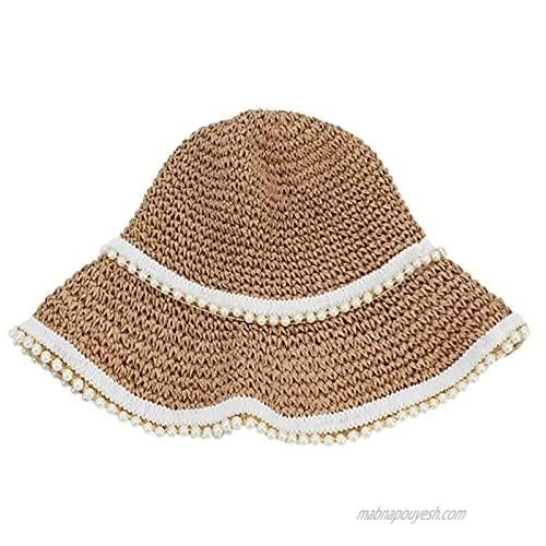Meyaus Pearls Decor Straw Handmade Sunhat Outdoor Beach Sun Protection Fisherman Hat Bucket Hat