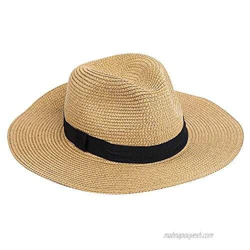 Neeyoo Straw Hats  Womens Beach Hat  Foldable Roll up Summer Sun Hat  Summer UV Hat with UPF 50+ Protection for Girls and Ladies  for Womens Vacation or Travel Brown